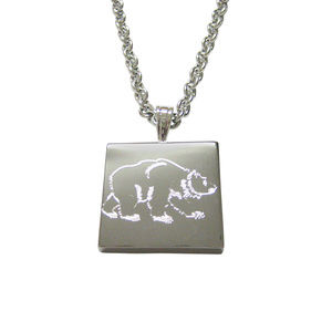 Silver Toned Etched Bear Pendant Unisex Necklace
